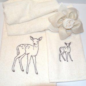 coppia asciugamani spugna ricamo