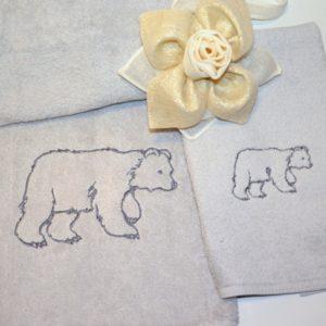coppia asciugamani spugna orso