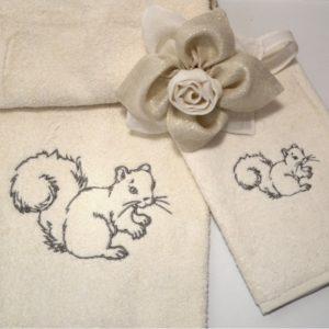 coppia asciugamani spugna scoiattolo