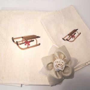 coppia asciugamani spugna slitta